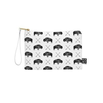 DENY Designs Little Arrow Design Co Great Buffalo Small Pouch in Black