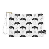 DENY Designs Little Arrow Design Co Great Buffalo Medium Pouch in Black