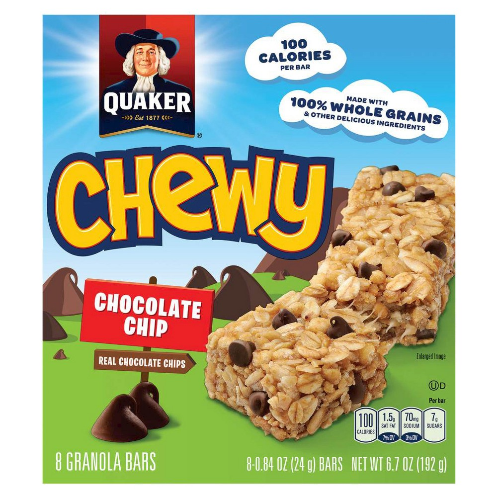Quaker Oats Quaker Chewy Granola Bars, Chocolate Chip - 8 pack, 0.84 oz bars