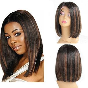 ZANA Short Bob Human Hair Lace Front Wigs Brazilian Virgin Glueless Silk Straight Hair Wigs with Baby Hair for Black Women Highlight Color