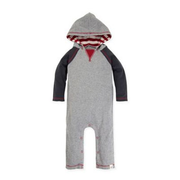 Burt's Bees Baby® Size 24M Hooded Coverall in Heather Grey/Red