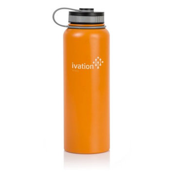 Ivation Flask Insulated Water Bottle 40-oz Stainless Steel BPA Free - Orange