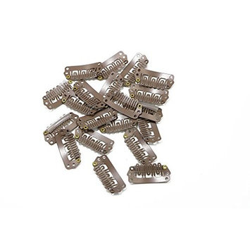 U Shape Metallic Snap Clips ins 20 Pcs for Hair Extension Hairpiece DIY Snap-Comb Wig Clips with Rubber (Medium Brown,Small Size)