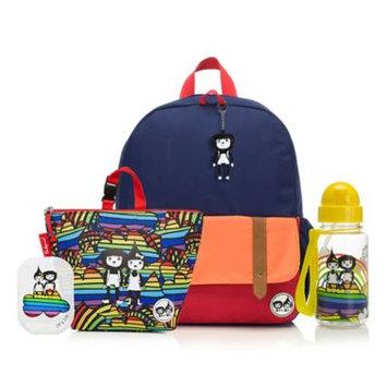 Babymel Zip & Zoe Junior Backpack with Lunch Bag and Water Bottle - Navy (Blue) Color Block/Rainbow