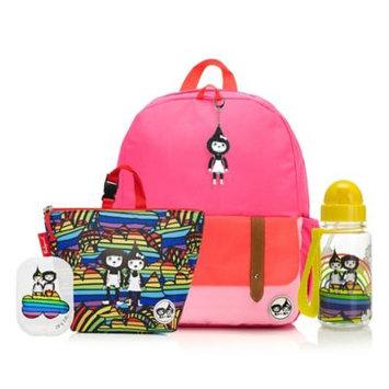Babymel Zip & Zoe Junior Backpack with Lunch Bag and Water Bottle - Pink Color Block/Rainbow