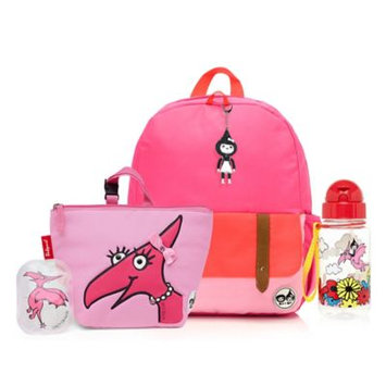 Babymel Zip & Zoe Junior Backpack with Lunch Bag and Water Bottle - Pink Color Block/Daisy Dragon
