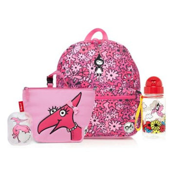 Babymel Zip & Zoe Junior Backpack with Lunch Bag and Water Bottle - Floral Pink/Daisy Dragon