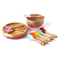 Avanchy Bamboo + Silicone Baby Bowl and Plate Set with Spoons in Pink