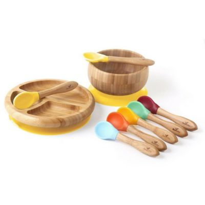 Avanchy Bamboo + Silicone Baby Bowl and Plate Set with Spoons in Yellow