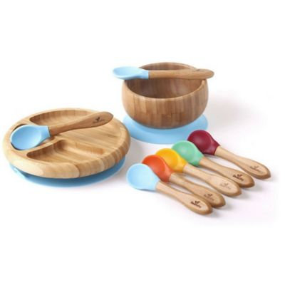 Avanchy Bamboo + Silicone Baby Bowl and Plate Set with Spoons in Blue