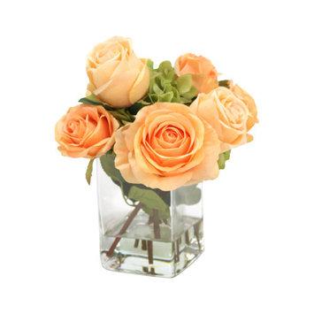 Distinctive Designs Waterlook Silk Roses and Hydrangeas in Glass Vase