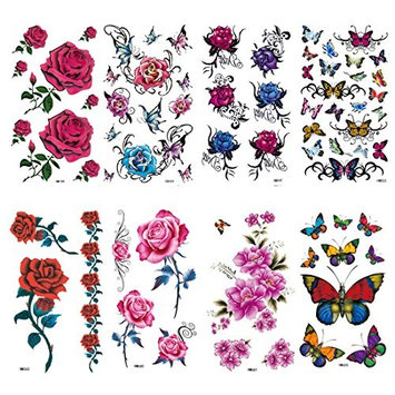 HairPhocas 8 Sheets Fashion Body Art Stickers Removable Waterproof Temporary Tattoo Rose Butterfly Flower Henna Temporary Tattoo Stick