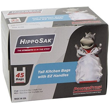 Hippo Sak Handle Trash Bag, with Power Strip, 13 gallon Tall Kitchen, 90 Count [Unscented]