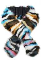 Luxury Divas Blue Colorful Faux Fur Neck Warmer Scarf