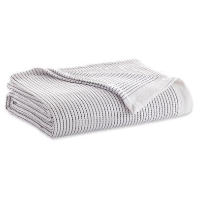 ED Ellen DeGeneres Yarn Dye Stripe Full/Queen Blanket in Ivory/Charcoal