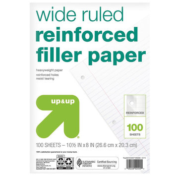 Filler Paper, Wide Ruled, 100 pgs, 8.5