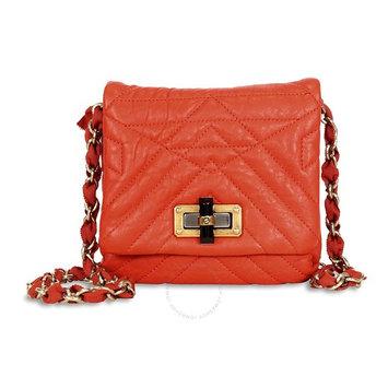 Lanvin Happy Classic Minipop Lambskin Shoulder Bag - Orange