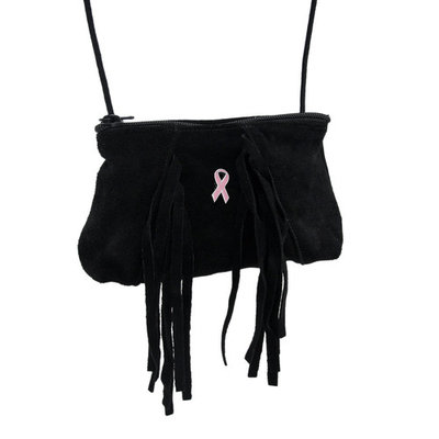 Black Suede Crossbody Purse w/Fringe & Pink Breast Cancer Awareness Ribbon