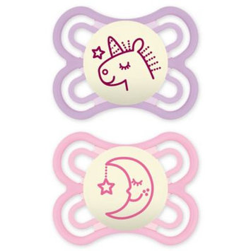 MAM Orthodontic Perfect Night Size 0-6M 2-Pack Girl Pacifiers in Pink/Purple