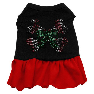 Mirage Pet Products 58-37 LGBKRD Candy Cane Crossbones Rhinestone Dress Black with Red Lg - 14