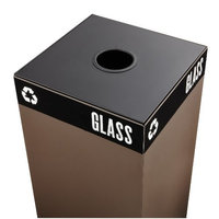 Safco Products 2988BL Public Square Recycling Trash Can Lid, Round Cutout for Cans and Glass (Base sold separately), Black