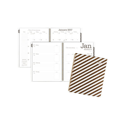 AT-A-GLANCE(R) Weekly/Monthly Planner, 8 1/2in. x 11in, Glitz And Glam, Gold/White, January to December 2017