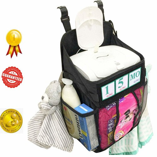 MileStones Hanging Diaper Caddy Storage Crib Organizer Includes Birthday Marker
