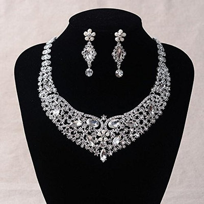 Missgrace Bridal Statement Necklace Fashion Silver Plated African Wedding Clear Crystal Necklace Jewelry Sets