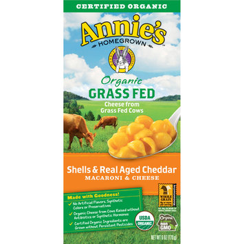 Annie's Organic Grass Fed Shells and Real Aged Cheddar Macaroni and Cheese, 6 oz