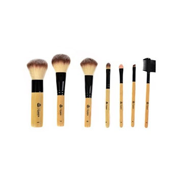 12 Piece Lavender Makeup Brush Set with Roll-Up Cotton Travel Pouch - Natural Goat & Badger Cosmetic Bristles - by Queen's Grace