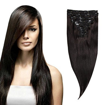 Moda Mode Clip In Straight Hair Brazilian Human Hair Extensions Clip in Remy Hair Natural Black (#1b) 10 Pieces 130 Grams with 22 Clips (C130-14