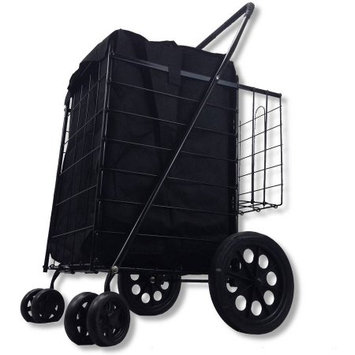 Lavohome Double Basket Black Folding Utility Cart Folds Rolling Storage Shopping Carrier with BONUS LINER