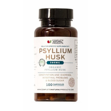 Organic Natural Whole Psyllium Husk Powder Capsules - 580mg Capsules 80 Pure Unflavored Fiber & Colon Cleanse Pills