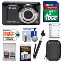 Kodak Ltd Kodak PixPro Friendly Zoom FZ53 Digital Camera (Black) with 16GB Card + Battery + Case + Selfie Stick + Kit
