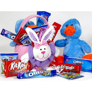 Kid's Kit Kat, Oreo, Easter basket with candy and chocolate bars. Reusable all fabric basket includes kid's favorites, 2 chocolate Kit Kat bars, an Oreo Bar plus cookies. Makes a great gift.