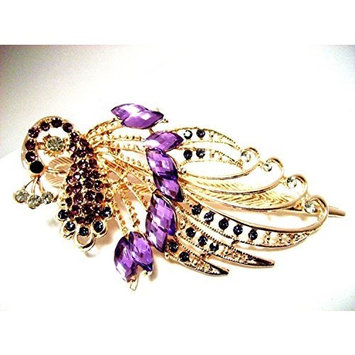 Lovely Vintage Jewelry Crystal Purple Peacock Hair Clips - for hair clip Beauty Tools