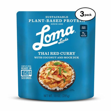 Loma Linda Blue - Plant-Based Complete Meal Solution - Heat & Eat Thai Red Curry (10 oz.) (Pack of 3) - Non-GMO
