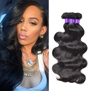Shining Star Brazilian Virgin Hair Body Wave 3 Bundles 100% Unprocessed Human Hair Extensions Remy Hair Natural Color(12