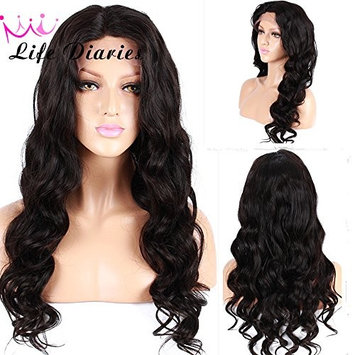 No Tangle 10A Full Lace Wig 130% Density Pre Plucked Natural Body Wave Natural Color Brazilian Virgin Human Hair Wigs for All Skin Women 16 Inch []