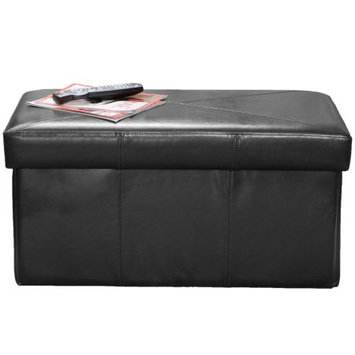 Nfusion Temple Black Bonded Leather Storage Ottoman Bench