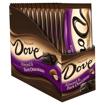 Mars Snackfood DOVE Dark Chocolate Almond Sharing Size Candy Bar Box, 3.30 oz 12 Pack