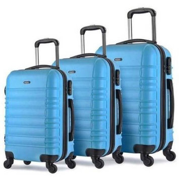 Proht Powered By Inland ProHT AnyTour 3-Piece Hardside Luggage Set, 28 Inch, 24 Inch and 20 Inch Set, ABS + Expandable, Blue