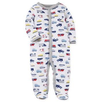 carter's® Preemie Snap-Up Car Print Footie Pajama in White