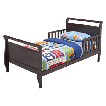 Toddler Bed: Delta Children's Products Sleigh Toddler Bed - Espresso Cherry