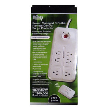 Uninex Remote Control Power Strip 6 Outlet With Surge Protector Home Office Save Energy
