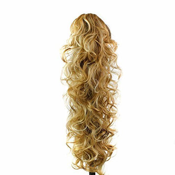 Curly Clip in Claw Ponytail Hair Extension Synthetic Hairpiece with a jaw/Claw Clip,Long Synthetic Ponytail Clip Heat Resistant(F27/613#)