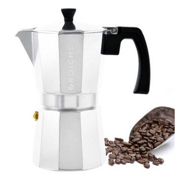 GROSCHE Milano Moka Stovetop Espresso Coffee Maker With Italian Safety Valve, Silver, 6 cup