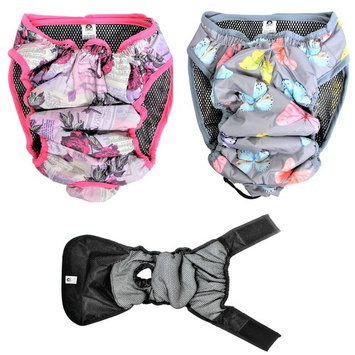 PACK - 2 Colors WATERPROOF Cat Dog Diapers Female WASHABLE Reusable ABSORBENT Pad S (waist 14