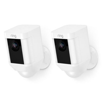 Ring Spotlight Cam Battery Outdoor Rectangle Security Camera, White (2-Pack)