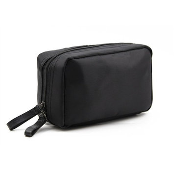 Admirable Idea Women's Small Makeup Organizer Bag for Traveling Square Nylon Cosmetic Pouch Kits,black